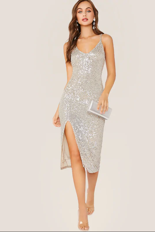 Sequins Dress with Slit