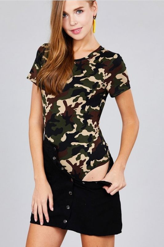 Short Sleeve Crew Neck Camo Bodysuit