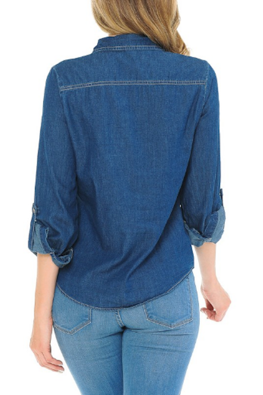 Button Down Long Sleeve Denim Shirt