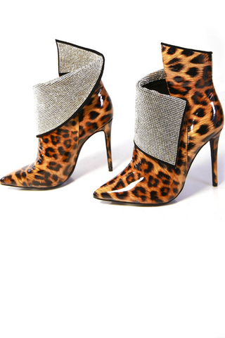 Leopard Studded Pointy Heel