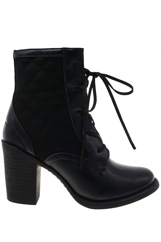 Quilted Lace Up Ankle Boot