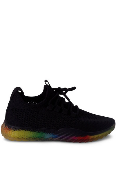 Knit Lace Up Rainbow Sole Sneaker