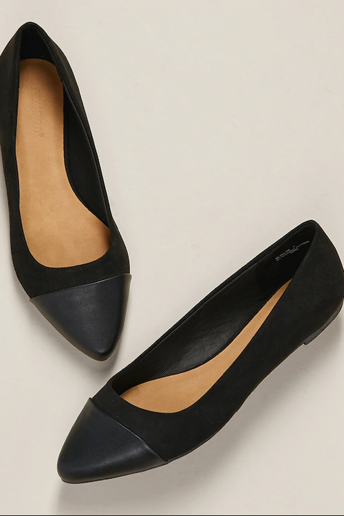 Contrast Pointed Toe Cap Slip On Ballet Flats