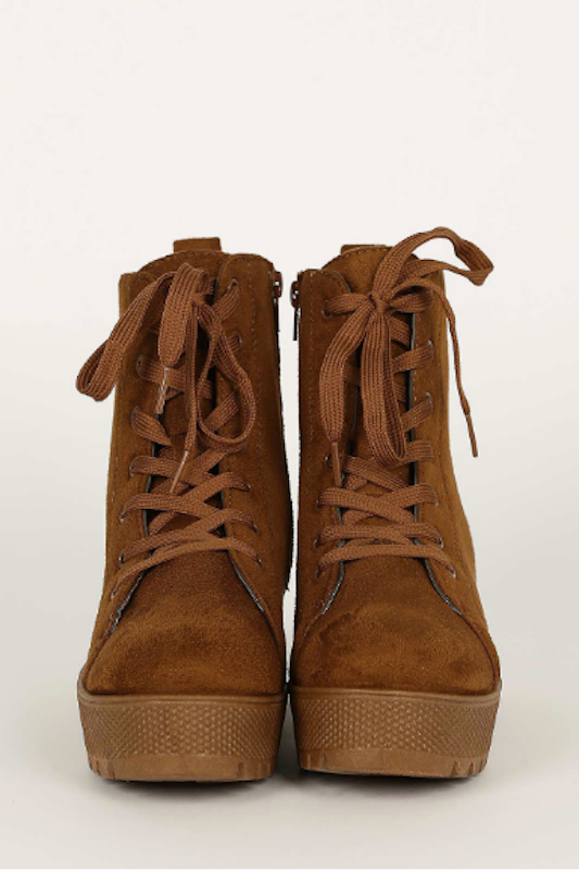 Suede Lace Up Combat Boot