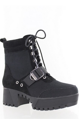Canvas Combat Boot with Chunky Sole
