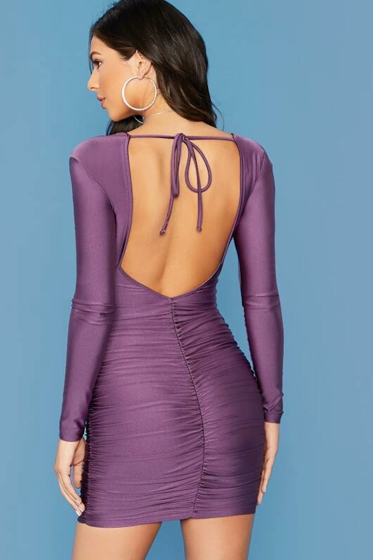 Long Sleeve Open Back Ruched Dress