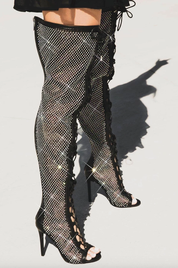 Rhinestone Lace Up Thigh High Boot 40% OFF WITH CODE: CERSEI
