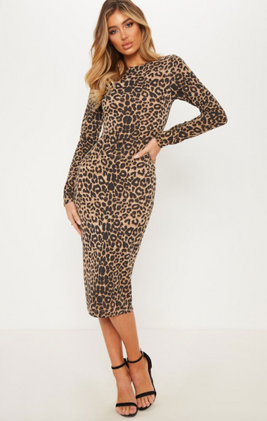 Long Sleeve to the Knee Leopard Dress