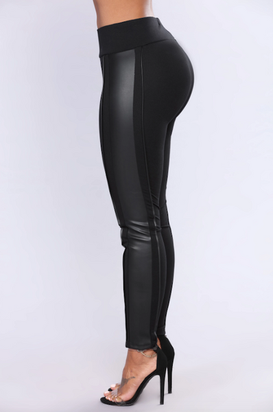 Faux Leather Side Detail Legging
