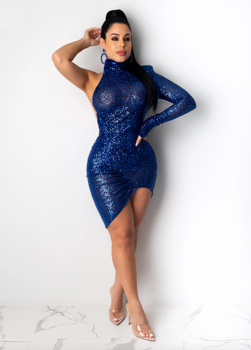 Single Sleeve Sequin Dress
