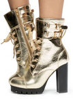 Lace Up Metallic Bootie with Heel