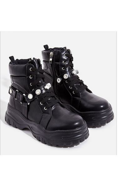 Thick Sole Boot with Rhinestone Straps