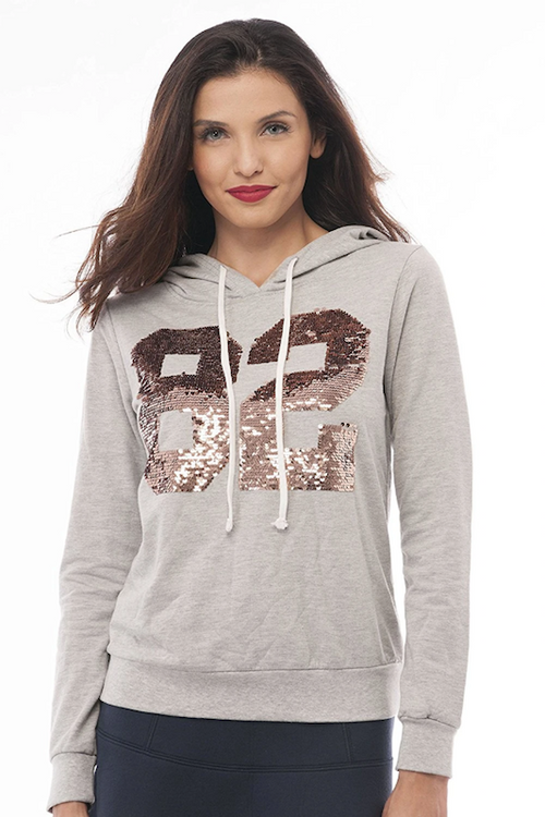 Long Sleeve V Neck Sequins Pullover Hoodie