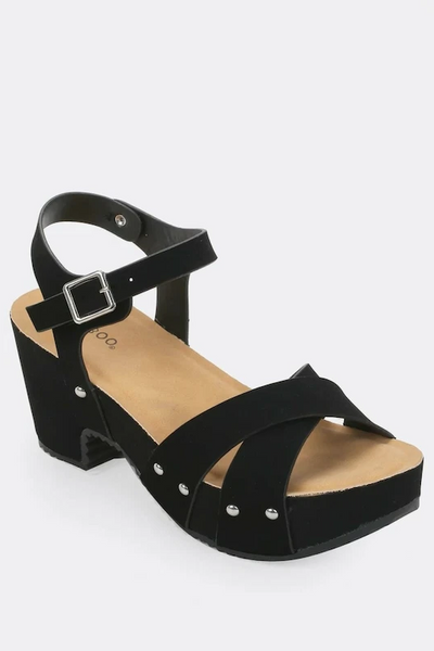 Criss Cross Platform Clog Sandals