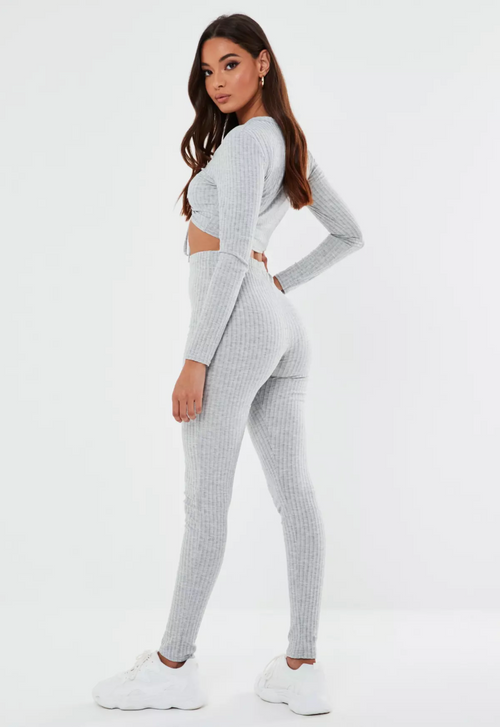Plain Ruched Crop Top & Legging Set