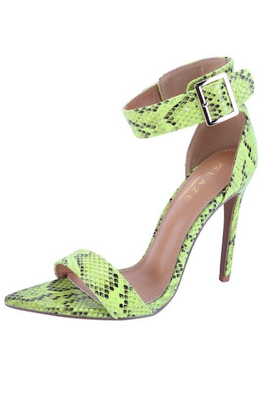 Snake Print Pointy Ankle Strap Heel
