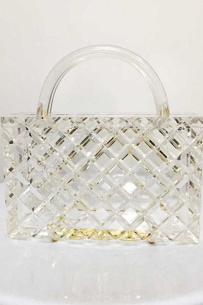 Rectangle Clear Clutch with Handle