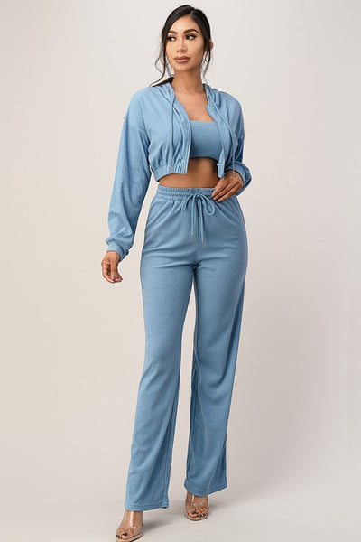 Front Zipper Crop Top and Wide Leg Pants with Hoodie Jacket