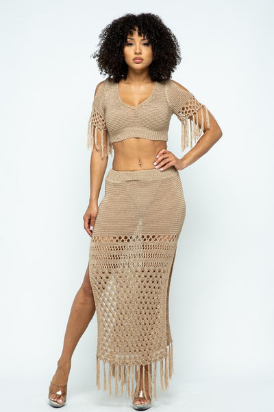 Knitted Crop Top and Open Side Skirt