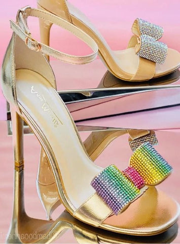 One Band with Rhinestone Bow & Close Counter Sandal