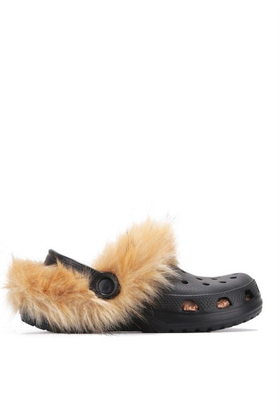 Ankle Strap Furry Crocs