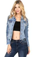 Mid Length Distressed Denim Jacket with Uneven Frayed Edges