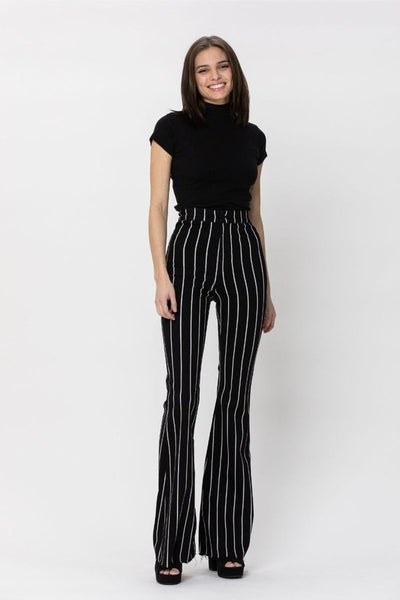 High Rise Super Flare Striped Jeans