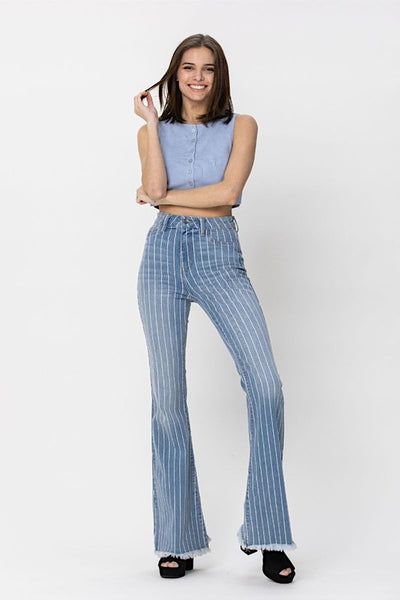 High Rise Striped Frayed Flare Jeans