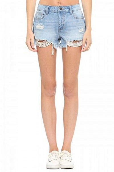 High Rise Distressed Shorts with Frayed Hem