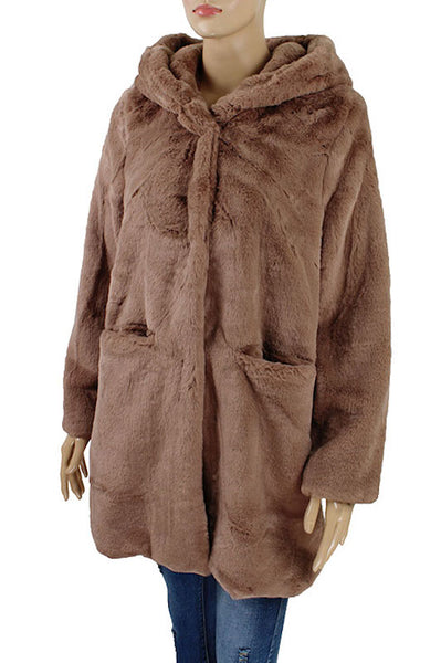 Fur Coat with Hoodie