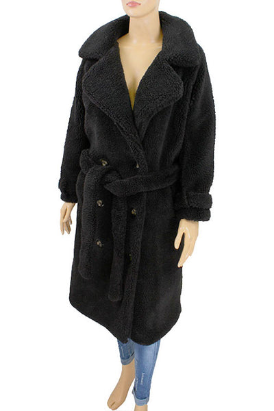Long Fur Button Up Coat