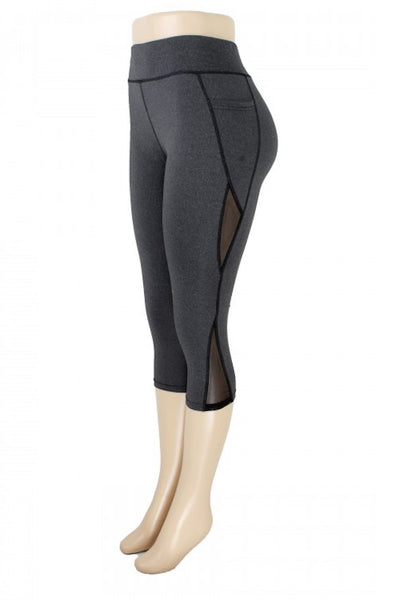 Cropped Mesh Panel Leggings Pants
