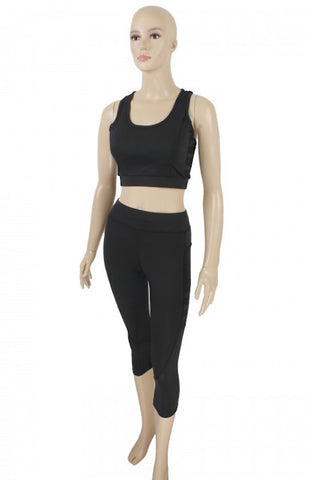 Sports Bra & Cropped Legging Pants Set