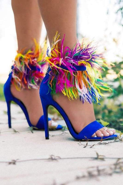 Feather Ankle Strap Heel