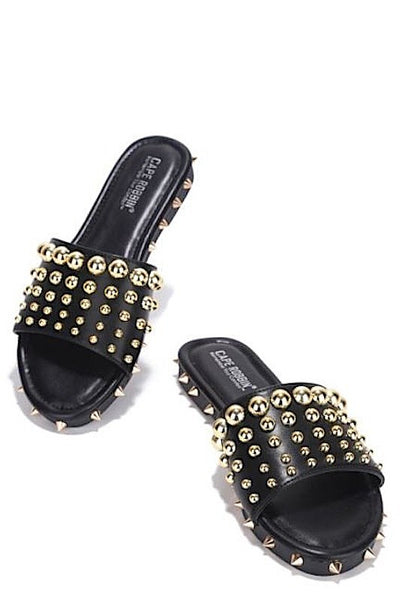 Studded Clear Band Flat Sandals