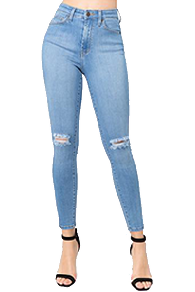 High Waist Ripped Knee Skinny Jean