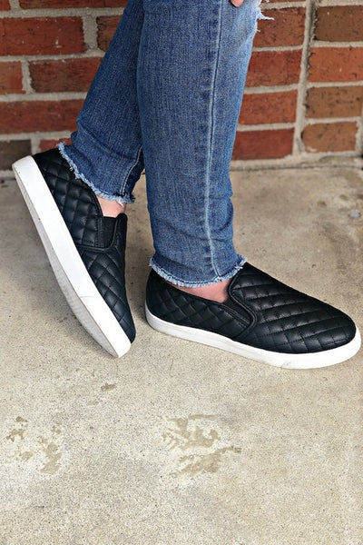 Quilted Slide On Sneakers