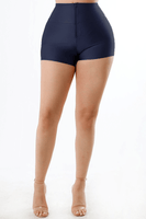 Shiny Tricot Shorts with Front Zipper