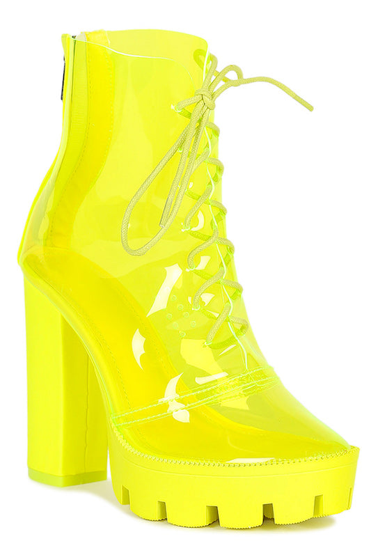 Thick Heel Clear Bootie