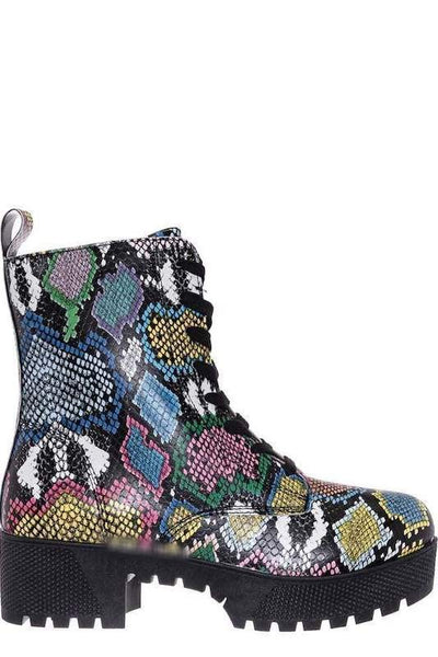 Chunky Sole Snake Lace Up Bootie