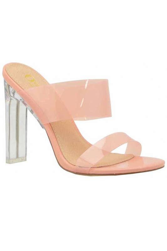 Lucite Double Strap with Clear Heel