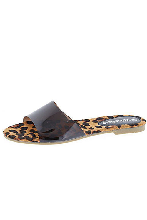 Clear band Leopard Slide