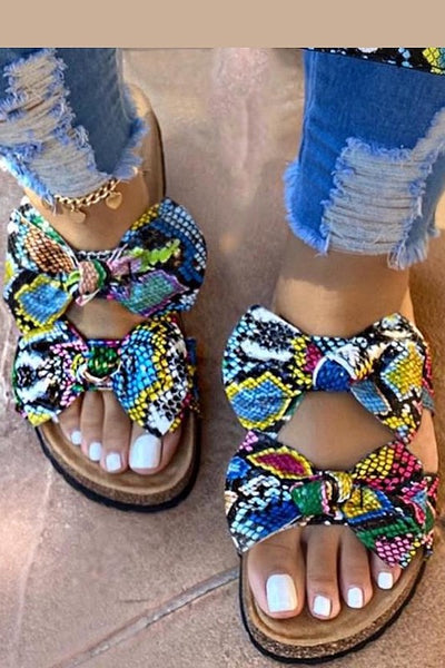 Snake Multicolor Sandal with Bow