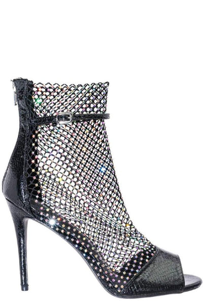 Netted Open Toe Bootie with Rhinestone
