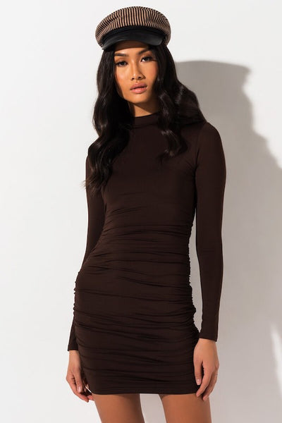 Ruched Mock Neck Long Sleeve Dress
