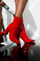 Patent Bootie with Thick Heel