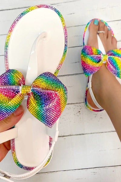 Rhinestone Jelly Flat Sandal with Big Bow