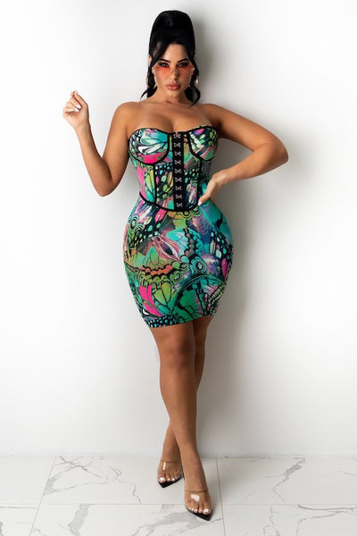 Dragonfly Print Corset Style Print Dress