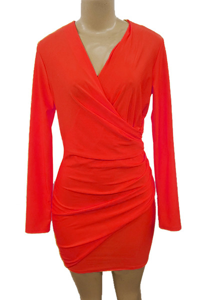 Satin Ruched Bodycon Wrap Dress