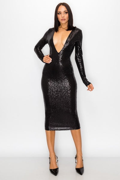 Sequin Deep V Long Sleeve Dress